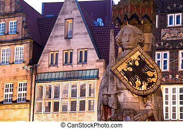 Roland Statue in Bremen, Germany. World Heritage Site. -...