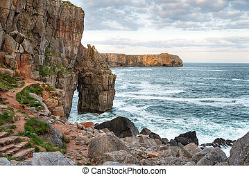 Pembrokeshire Coast in Wales - The rocky shoreline at St...