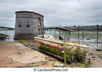 Pembroke Dock in Wales - An old Martello Tower and a washed...