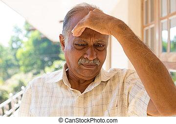 Forgetful - Closeup portrait, morose elderly pensioner,...