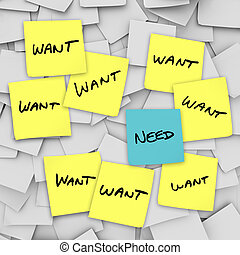 Wants Vs Needs - Sticky Notes - Many sticky notes with the...