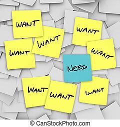 Wants, contra, necesidades, -, pegajoso, notas