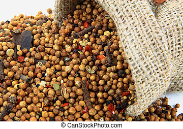 Pickling Spice Close up view. - Close up view of spilled...
