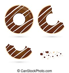 Chocolate Flavored Doughnut in Different Eating Stages -...