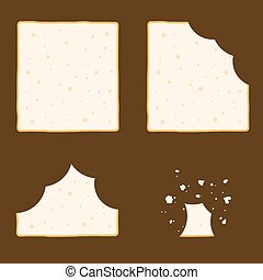 Slice Of Bread Set In Different eating Stage - Vector stock...