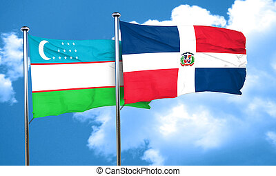 Uzbekistan flag with Dominican Republic flag, 3D rendering