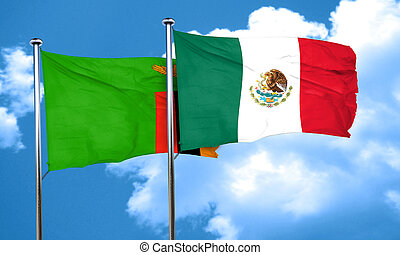 Zambia flag with Mexico flag, 3D rendering