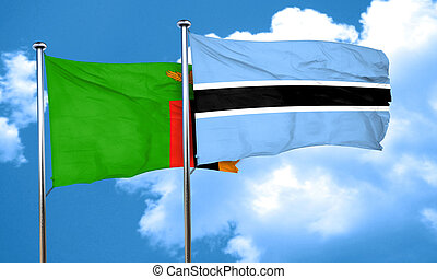 Zambia flag with Botswana flag, 3D rendering