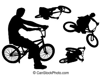 Bmx - Four bmx action silhouettes isolated on white.