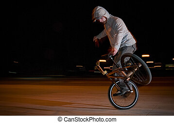 Bmx training at night - Bmx flatland training at night in a...