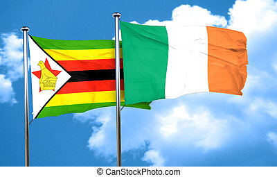Zimbabwe flag with Ireland flag, 3D rendering