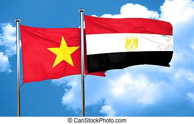 Vietnam flag with egypt flag, 3D rendering