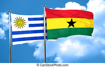 Uruguay flag with Ghana flag, 3D rendering