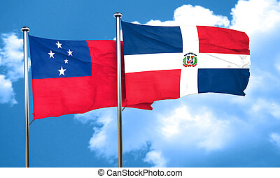 Samoa flag with Dominican Republic flag, 3D rendering