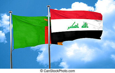 Zambia flag with Iraq flag, 3D rendering