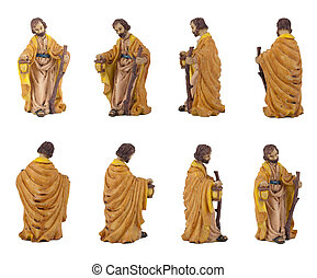 Joseph - Christmas crib isolated on white statuettes...