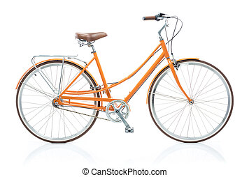 Stylish orange bicycle isolated on white background -...