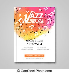 Vector musical poster design. Watercolor stain background. Jazz, rock style billboard template for card, brochure, banner.