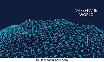 Wireframe Landscape Background. Futuristic Landscape with...
