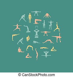 Yoga poses with props in vector Seamless pattern