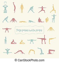 Set of 26 hatha yoga poses - Set of 26 hatha yoga poses with...