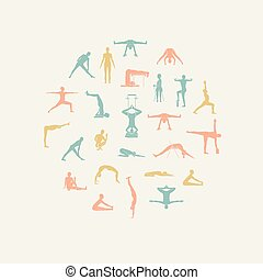 Yoga poses with props in vector. Seamless pattern.