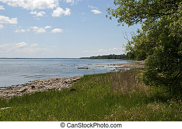 St. Lawrence River bank in early summer in Ile Perrot,...