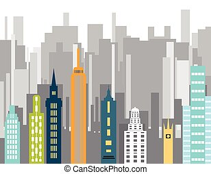 Building vector color - Cityscape background Downtown with...