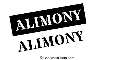Alimony black rubber stamp on white. Print, impress,...