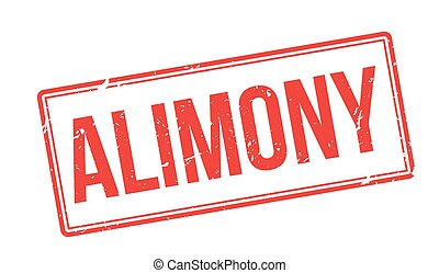 Alimony red rubber stamp on white. Print, impress,...