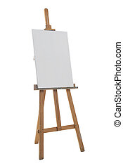 Easel - Clean canvas on a easel isolated on a white...