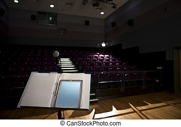 Empty Lecture Hall - Empty lecture hall with a digital...