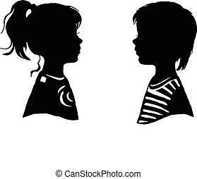 The two silhouette of a boy and girl. Vector illustration.