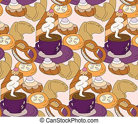 Seamless high tea cake and cats party vector pattern...