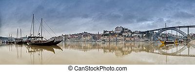 Douro - Cityscape of Oporto in Portugal.
