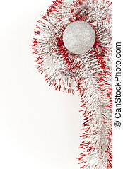 Silver christamas ball with red ribbon ,isolated on white