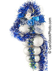 Silver christamas ball with Santa claus detail, isolated on...