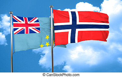 Tuvalu flag with Norway flag, 3D rendering