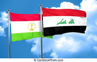 Tajikistan flag with Iraq flag, 3D rendering
