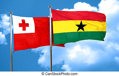 Tonga flag with Ghana flag, 3D rendering