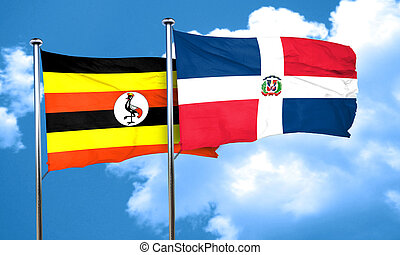 Uganda flag with Dominican Republic flag, 3D rendering