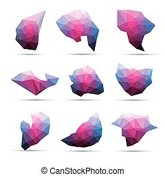 Vector colorful abstract geometric 3d stone shape lowpoly