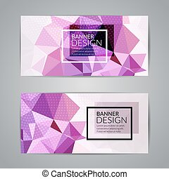 Set of polygonal triangular colorful background banners...