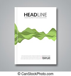 Flyer template musical wave background. Vector sound  element brochure layout