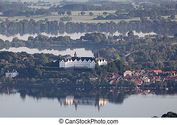 Schloss Plouml;n - Aerial view of Plön palace with lake...