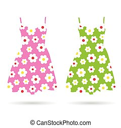dresses color illustration - dresses in color set...