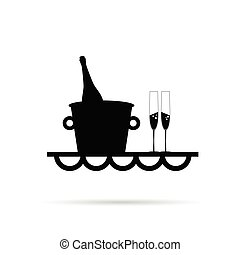 wine bottle with glasses beverage illustration in black
