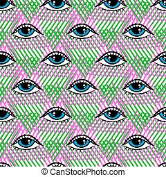 Pattern with eyes - Vector seamless pattern in pop art style...