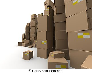 3d cartons  - 3d rendered illustration of stacked cartons