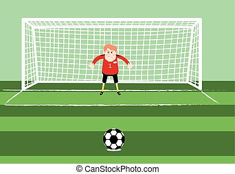 soccer goalkeeper prepaing for a penalty kick on the gate